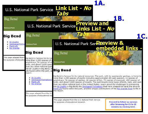 Variations of Big Bend Test Pages