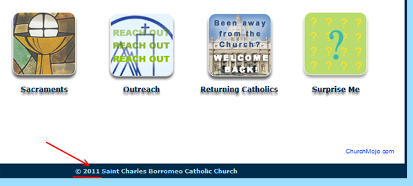 Example of StCharlesChurch.org with the wrong year on home page