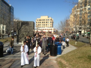 Palm Sunday procession, Clarendon to St. Charles Church (by Mark Alves)