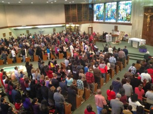 St. Charles Church crowd from overhead